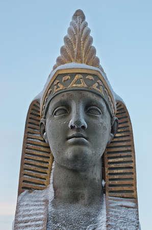 Egyptian sphinx near the bridge over Fontanka river, St Petersburg, Russia Stock Photo