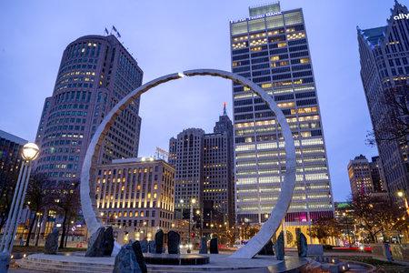 Detroit, Michigan, USA - November 23, 2018: View of downtown Detroit at night in Michigan, USA