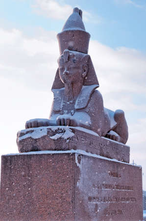 Authentic antique Egyptian sphynx on quay of the Neva river in Saint Petersburg, Russia. 스톡 콘텐츠