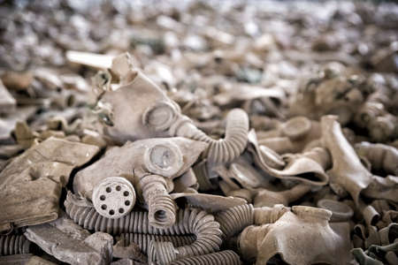 Old gas masks in abandoned building in Chernobyl Exclusion Zone, Ukraine Imagens
