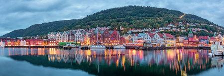 Bergen , Norway -September 25, 2014: Bryggen, also known as Tyskebryggen the German dock, is a series of Hanseatic commercial buildings lining of the harbour in Bergen, Norway.
