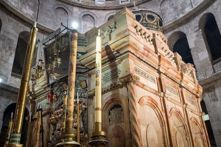 Jerusalem, Israel - April 23, 2019: : Interior of Church of the Holy Sepulchre, the greatest Christian shrine in the world Editorial