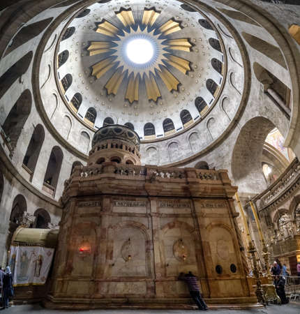 Jerusalem, Israel - May 4, 2019: : Interior of Church of the Holy Sepulchre, the greatest Christian shrine in the world