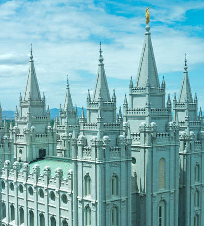 Salt Lake Temple is a temple of The Church of Jesus Christ of Latter-day Saints (LDS Church) in Salt Lake City, Utah, USA Stock Photo