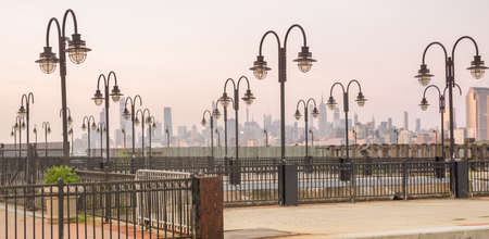 Manhattan skyline at sunset , New York City