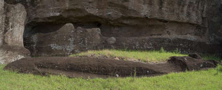 An incomplete moai at Rano Raraku Volcano at Easter Island, Rapa Nui National Park, Chile Stock Photo