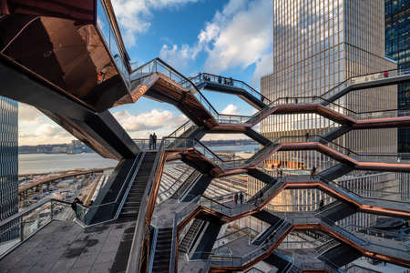 New York, USA - December 11, 2019: Vessel (TKA) is a structure and visitor attraction built as part of the Hudson Yards Redevelopment Project in Manhattan, New York City, New York.
