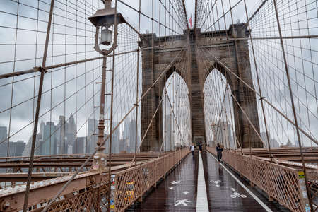 11/24/2019: Brooklyn Bridge at rainy day in New York. USA Editorial