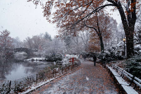 view of Gapstow bridge during winter, Central Park New York City. USA