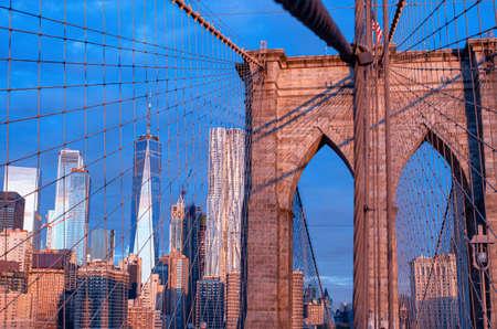 Brooklyn Bridge during sunrise in New York. USA