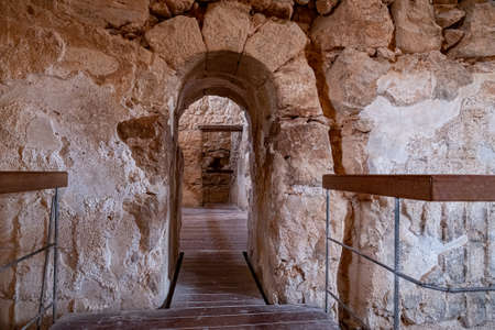 The large bathhouse in the ancient fortification Masada in Israel. Masada National Park in the Dead Sea region of Israel. Imagens
