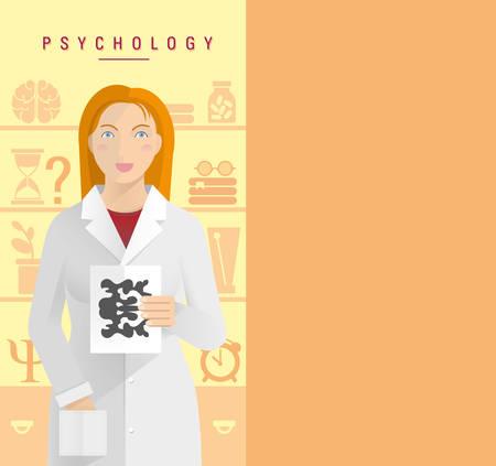 Una chica joven en una capa blanca psicólogo.