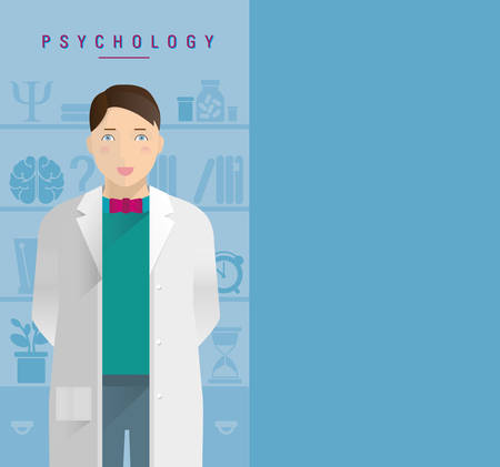 A young guy in a white coat psychologist. Stock Vector - 51361308