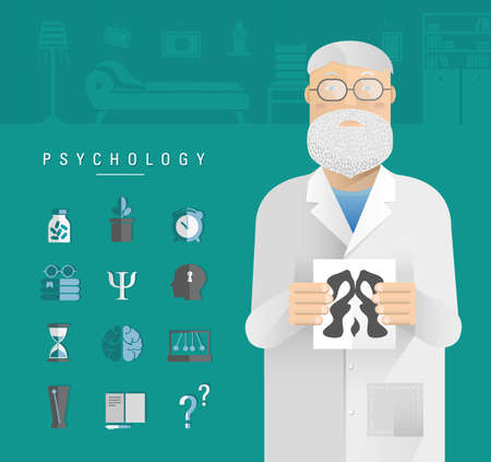 Adult men in a white coat psychologist. Illustration
