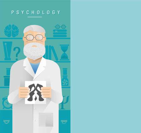 psychologist: Illustration of an adult man psychologist in glasses.