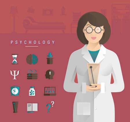 Women in a white coat psychologist. Stock Vector - 51361314