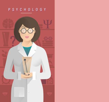 Ilustración de las mujeres psicólogo en las gafas.