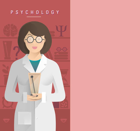 Illustration of women psychologist in glasses.