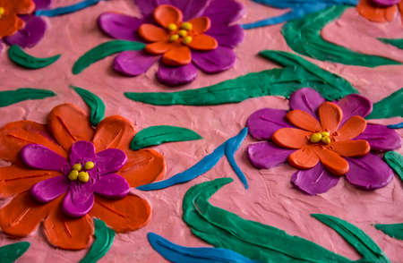 sculpt: Colorful spring flowers made of plasticine kid