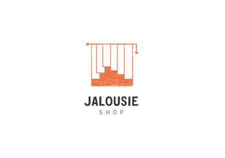 jalousie: Creative development jalousie shop orange color Illustration