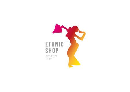 ethnic shop. Dancing girl with fans Illustration