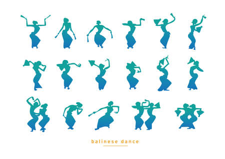 exotic dancer: Balinese dancing girls in a gradient style