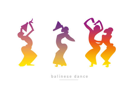 balinese: Balinese dancing girls in a gradient style