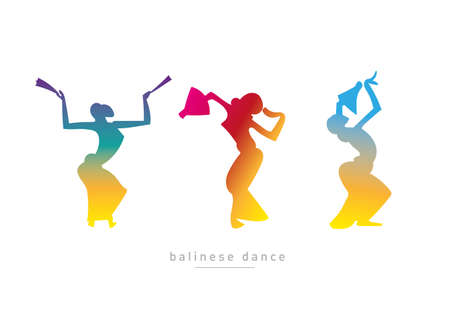 Balinese dancing girls in a gradient style