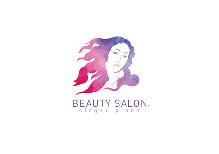 flying hair: Logo for the beauty salon. Girl with flying hair