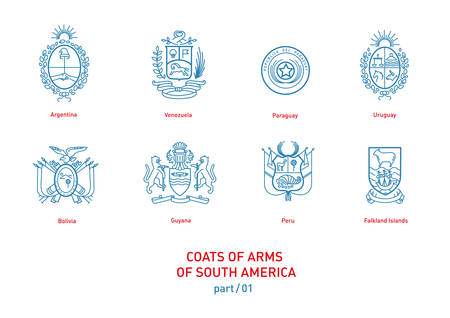 onu: Development of linear images of coats of arms of South America Illustration