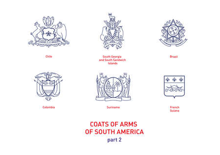 Development of linear images of coats of arms of South America Illustration