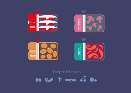 Développement créatif des plats aliments icônes conservées