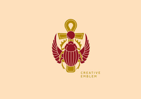 scarab: Creative emblem on Egyptian scarab with wings and a cross