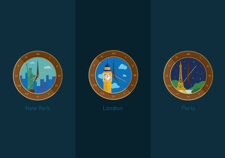 development of icons on the theme of travel and the time in different cities of the world