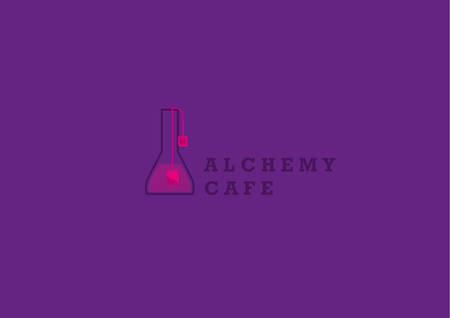 elixir: Creative logo on alchemy and unusual cafe.A flask with tea bag Illustration