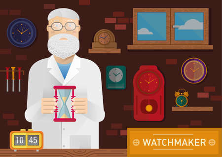 watchmaker: Creative illustration of a watchmaker in the workplace with a clock on the wall Illustration