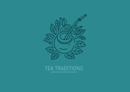 icon on tea traditions. Tea leaves and tea mate