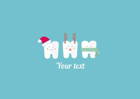 funny illustration, teeth and New Year 일러스트