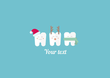 funny illustration, teeth and New Year Vectores
