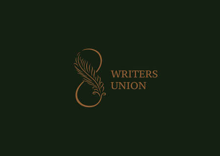 poet: Linear creative logo, infinity sign and Feather Illustration