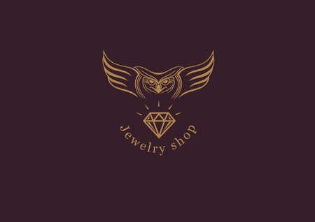 Creative logo, an owl with wings on diamond Illustration