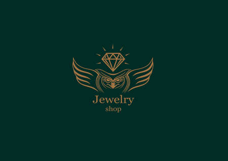 platinum: Creative logo, an owl with wings on diamond Illustration