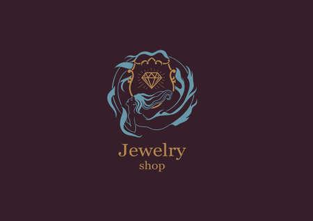 brilliant   undersea: Creative logo, jewelry mazgazin mermaid round frame with briliatom