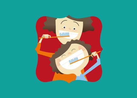 Creative illustration, mom and son brush their teeth