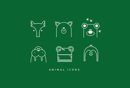 Six modern funny contour animal cartoon icons Illustration