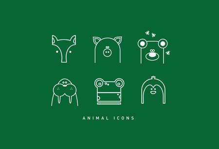 hilarious: Six modern funny contour animal cartoon icons Stock Photo