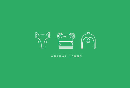 Set of funny contour animal icons,fox, penguin, frog