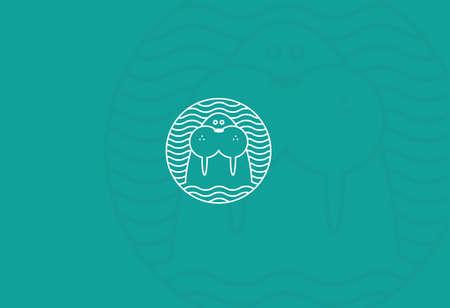 輪郭の丸い模様のモダンなロゴ セイウチ