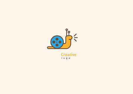 Creative logo with double meaning, snail and video Ilustrace