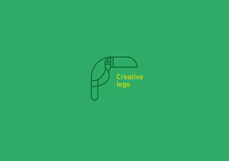 Development Creative Geometric Contour Logo Large Toucan